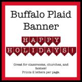 Happy Holidays Banner - Buffalo Plaid