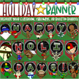 Happy Holidays Banner Pennant Sign Posters Display Bulletin Board Decoration