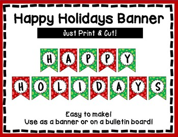 Happy Holidays Banner - Red & Green Style