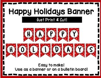 Happy Holidays Banner - Red Style - Holiday Bulletin Board