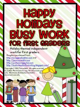 Happy Holidays Busy Work Pack for First Graders