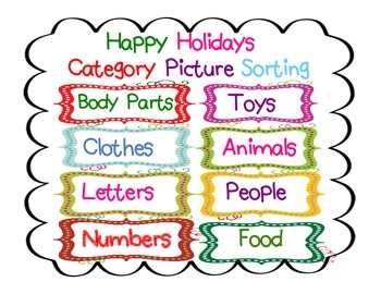 Happy Holidays                  Category Picture Sorting