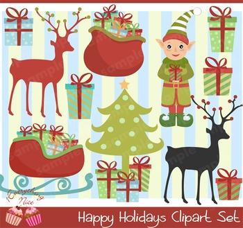 Happy Holidays Christmas Clipart Set