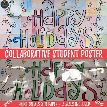 Christmas Holiday Activity Happy Holidays Collaborative Poster 2 Poster Sizes
