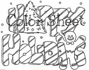Christmas Winter Happy Holidays Color Sheet