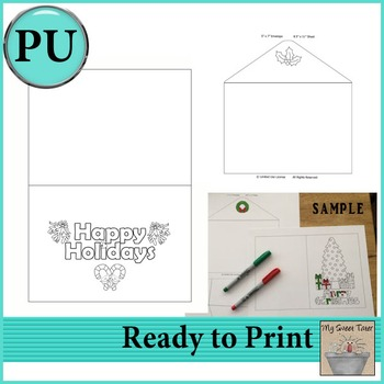 Happy Holidays Coloring Card 5x7 with envelope