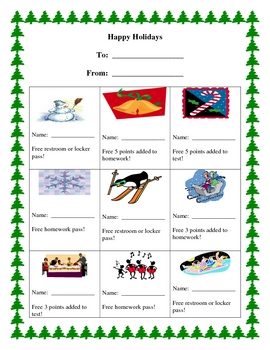 Happy Holidays Gift Sheet