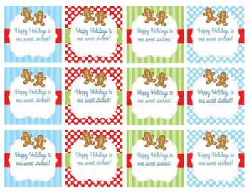 Happy Holidays Gingerbread student gift tags