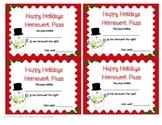 Happy Holidays Homework Passes