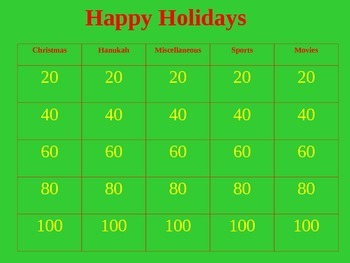 Happy Holidays - Interactive Power Point Jeopardy Game