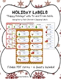 Holiday Labels/Tags Fillable PDF with To and From fields