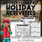 Happy Holidays Mini-Activity Pack / Editable Bingo Cards