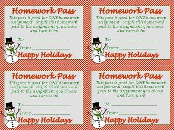 No Homework Pass-Happy Holidays