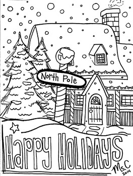 Happy Holidays North Pole Christmas Coloring Sheet