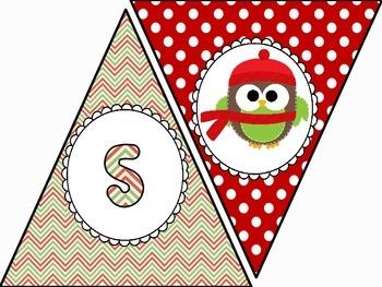 Happy Holidays Owl Banner FREEBIE