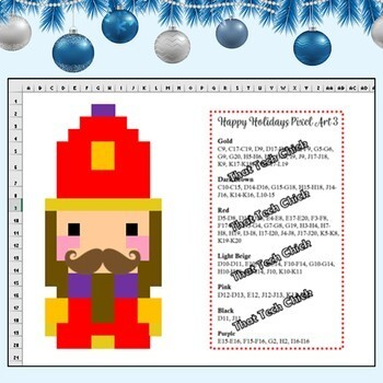 Happy Holidays Pixel Art Mystery Pictures for Google Drive and MS Excel