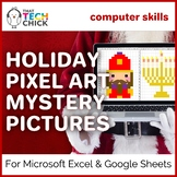 Happy Holidays Pixel Art Mystery Pictures for Google Sheets and MS Excel