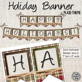 Happy Holidays Plaid and Raffia Banner