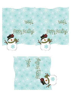 Happy Holidays Snowman Treat Bag Topper