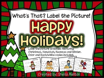 Winter Holidays Label the Picture (Christmas, Hanukkah, Kwanzaa)