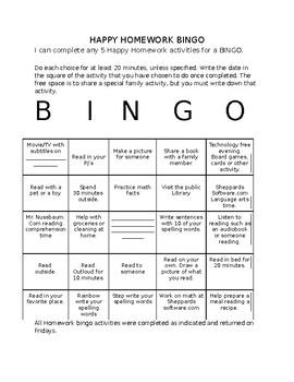 Happy Homework Bingo