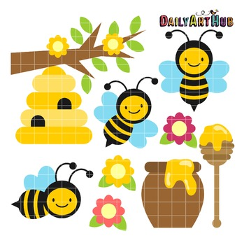 Happy Honey Bees Clip Art - Great for Art Class Projects!