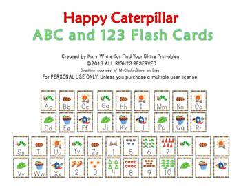 Happy, Hungry, Caterpillar ABC and 123 Flash Cards