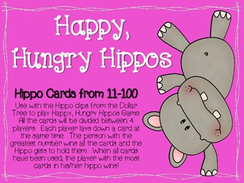 Happy, Hungry Hippo (Number Cards 11-100)