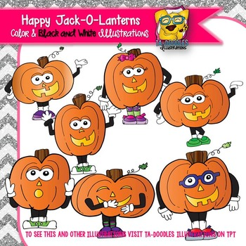 Happy Jack-O-Lanterns Commercial Use Clipart