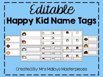 Happy Kid Nametags {{EDITABLE}}