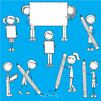 Happy Kids 1 - We love writing - Clip Art Set - PNG files