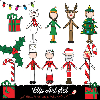 Happy Kids 2 - Christmas Time - Clip Art Set - PNG files