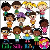 Happy Kids 2. Clipart. BLACK AND WHITE & Color Bundle. {Li