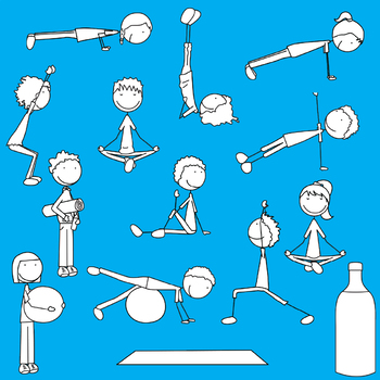 Happy Kids 3 - Exercise Time - Clip Art Set - PNG files