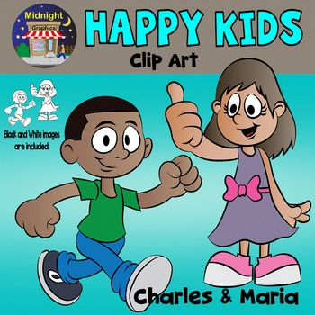 Kids - Happy Kids Clip Art - Charles and Maria