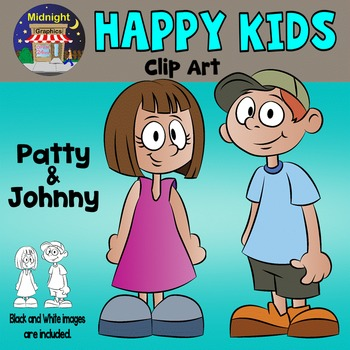 Kids - Happy Kids Clip Art - Patty and Johnny