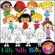 Happy Kids. Clipart. BLACK AND WHITE & Color Bundle. {Lilly Silly Billy}