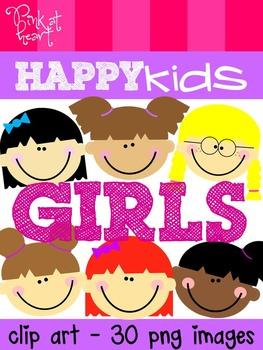 Happy Kids: Girls Clip Art