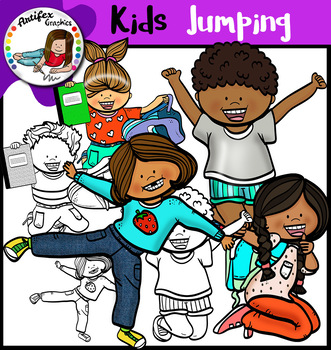 Happy Kids Jumping Clip Art
