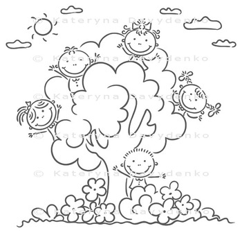 Happy Kids Playing in the Tree
