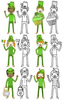 Happy Kids ST. Patrick's Day Clip art set