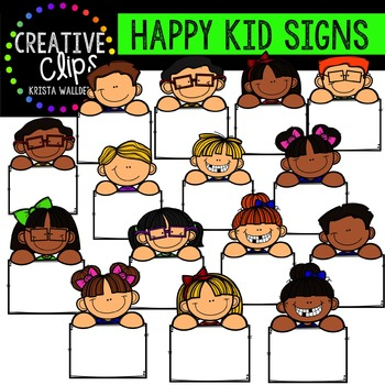 Happy Kids with Signs {Creative Clips Digital Clipart}