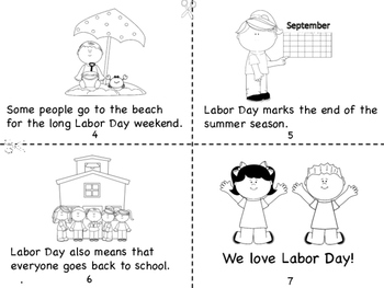 Happy Labor Day Mini Book and Coloring Page