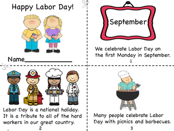 Happy Labor Day Mini Book and Coloring Page