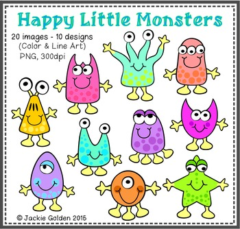 Happy Little Monsters Clip Art