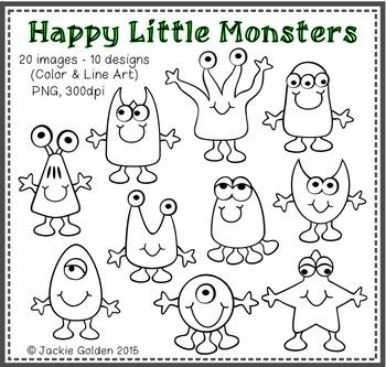 Happy Little Monsters Clip Art