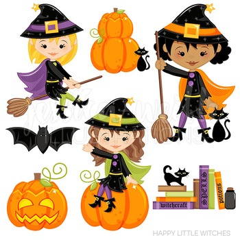 Happy Little Witches Cute Digital Clipart, Halloween Clip Art