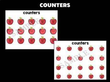 Happy Mats : Counting Numbers Mats - Apples, Playdough, Math Center, Activity