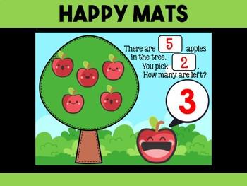 Happy Mats : Simple Subtraction Mats - Apples, Playdough, Math Center, Activity