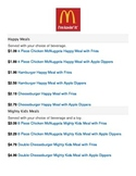 Happy Meal Menu with Item Prices